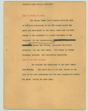 Primary view of object titled '[News Script: Crossman named Dallas headliner]'.