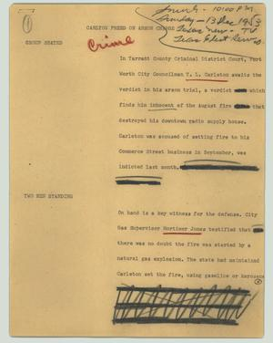 Primary view of object titled '[News Script: Carlton freed on arson charge]'.
