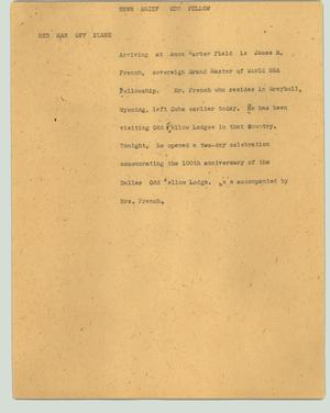 Primary view of object titled '[News Script: News brief - Odd Fellow]'.