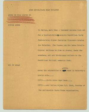 Primary view of object titled '[News Script: 1000 Republicans hear McCarthy]'.