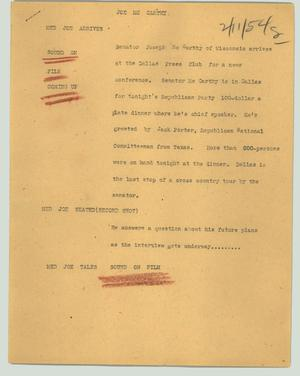 Primary view of object titled '[News Script: Joe Mc Carthy]'.