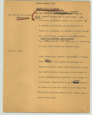 Primary view of object titled '[News Script: Sandra Ferris]'.