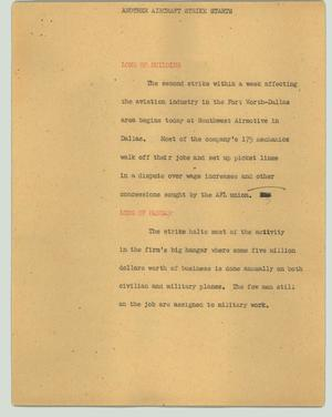 Primary view of object titled '[News Script: Another aircraft strike starts]'.