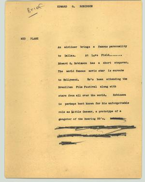 Primary view of object titled '[News Script: Edward G. Robinson]'.