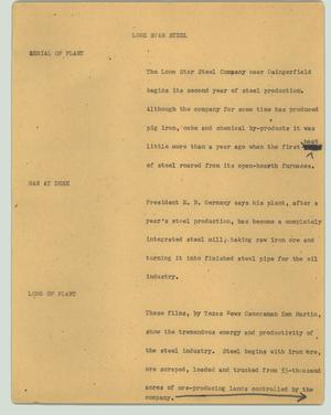 Primary view of object titled '[News Script: Lone Star Steel]'.