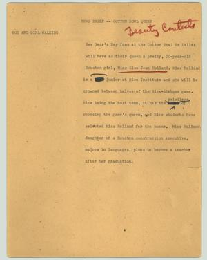 Primary view of object titled '[News Script: News brief - Cotton Bowl queen]'.
