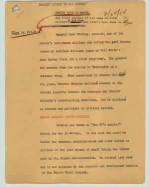 Primary view of object titled '[News Script: Bradley silent on all issues]'.