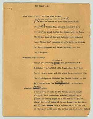Primary view of object titled '[News Script: Ben Hogan]'.
