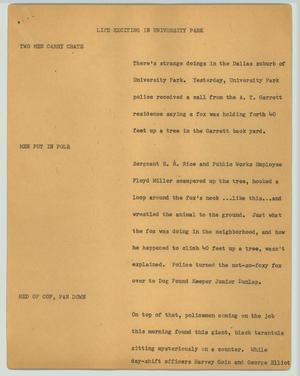 Primary view of object titled '[News Script: Life exciting in University Park]'.