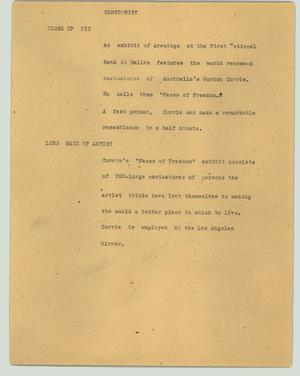 Primary view of object titled '[News Script: Cartoonist]'.