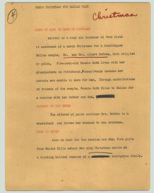 Primary view of object titled '[News Script: Merry Christmas for Dallas paid]'.