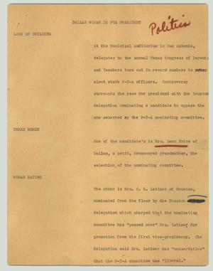 Primary view of object titled '[News Script: Dallas woman is PTA president]'.