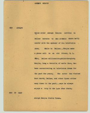 Primary view of object titled '[News Script: Adolph Menjou]'.