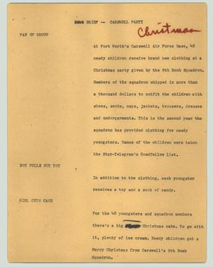 Primary view of object titled '[News Script: News brief -- Carswell party]'.