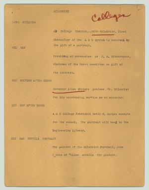 Primary view of object titled '[News Script: Gilchrist]'.