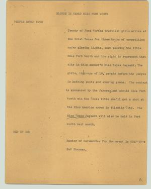 Primary view of object titled '[News Script: Blonde is named Miss Fort Worth]'.