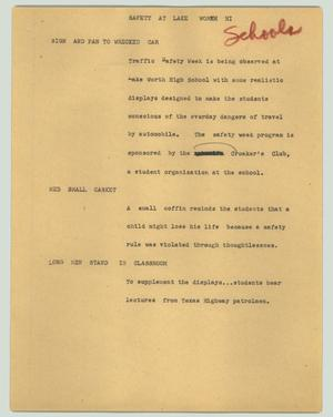 Primary view of object titled '[News Script: Safety at Lake Worth Hi]'.