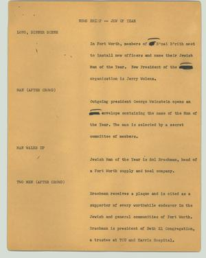 Primary view of object titled '[News Script: News brief -- Jew of year]'.