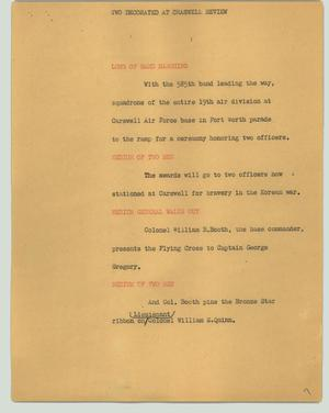 Primary view of object titled '[News Script: Two decorated at Craswell review]'.