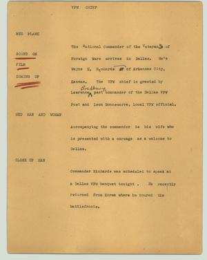 Primary view of object titled '[News Script: VFW chief]'.