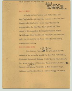 Primary view of object titled '[News Script: Board inspects air academy site]'.
