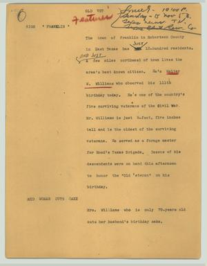 Primary view of object titled '[News Script: Old vet]'.
