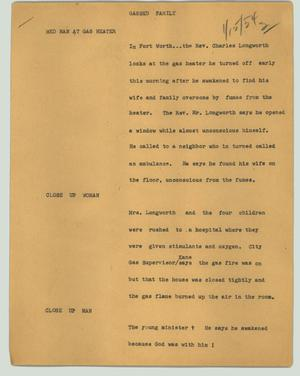Primary view of object titled '[News Script: Gassed family]'.