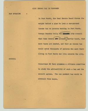 Primary view of object titled '[News Script: City income tax is proposed]'.