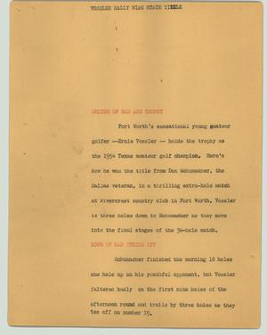 Primary view of object titled '[News Script: Vossler rally wins state title]'.