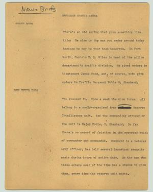 Primary view of object titled '[News Script: Officers change ranks]'.
