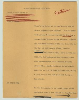 Primary view of object titled '[News Script: Korean orphan gets Texas home]'.
