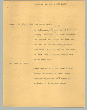 Primary view of object titled '[News Script: Insurance company costume party]'.
