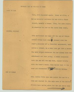 Primary view of object titled '[News Script: Runaway car is chained to tree]'.