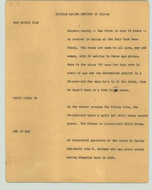 Primary view of object titled '[News Script: Bicycle racing revived at Dallas]'.