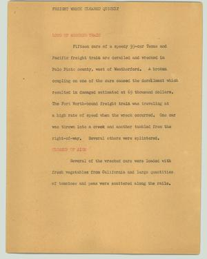 Primary view of object titled '[News Script: Freight wreck cleared quickly]'.