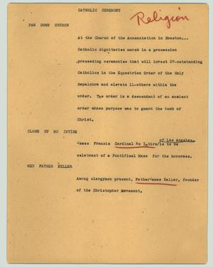 Primary view of object titled '[News Script: Catholic ceremony]'.