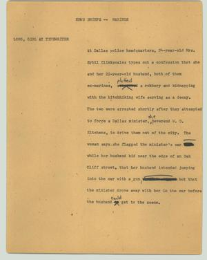 Primary view of object titled '[News Script: News briefs - Marines]'.
