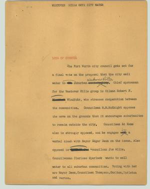 Primary view of object titled '[News Script: Westover Hills gets city water]'.