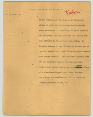 Primary view of object titled '[News Script: Strike ties up two can factories]'.