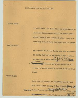 Primary view of object titled '[News Script: Zonta award goes to Mrs. Deakins]'.