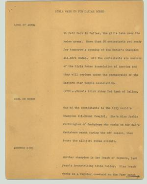 Primary view of object titled '[News Script: Girls warm up for Dallas rodeo]'.