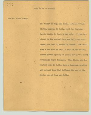 Primary view of object titled '[News Script: News brief - Actress]'.