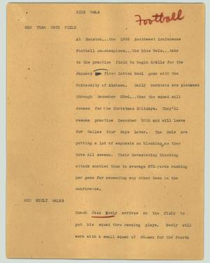 Primary view of object titled '[News Script: Rice Owls]'.