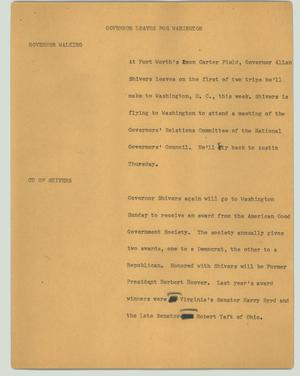 Primary view of object titled '[News Script: Governor leaves for Wahington]'.