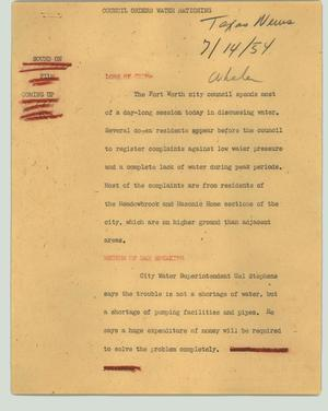 Primary view of object titled '[News Script: Council orders water rationing]'.