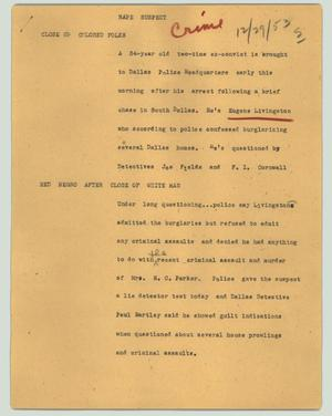Primary view of object titled '[News Script: Rape suspect]'.