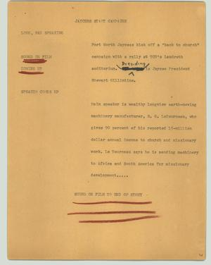 Primary view of object titled '[News Script: Jaycees start campaign]'.