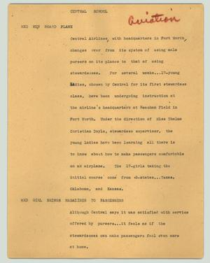 Primary view of object titled '[News Script: Central school]'.