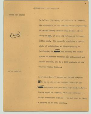 Primary view of object titled '[News Script: Chinese cop visits Dallas]'.