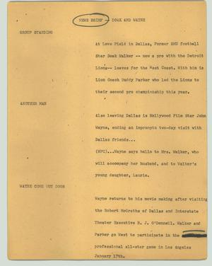 Primary view of object titled '[News Script: News brief -- Doak and Wayne]'.